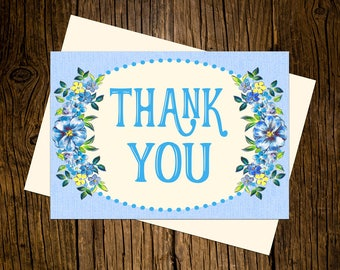 Blue Flowers Thank You Note Cards Custom Printed Handmade Stationery Set of 12 Blue Vintage Ecru