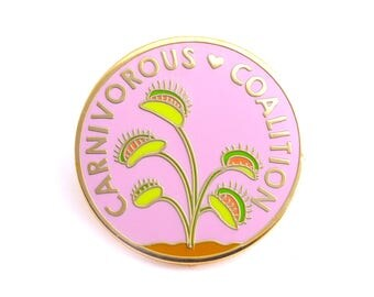 Carnivorous Coalition Pin (venus fly trap pin carnivorous plant pin cute backpack pin plant gift garden plant enamel pin game flair game)