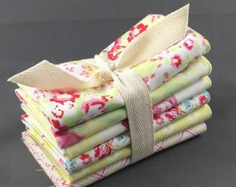 "HUGE SUMMER SALE Lola Fat Quarter Bundle by Tanya Whelan for FreeSpirit Fabrics ~ 6 Yellow & Pink 18""x22"" PreCut Cotton Quilt Pieces"