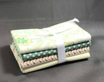 "HUGE SUMMER SALE Verona Fat Quarter Bundle by Emily Taylor for Riley Blake ~ 4 Green & Teal 18""x22"" PreCut Cotton Quilt Pieces"