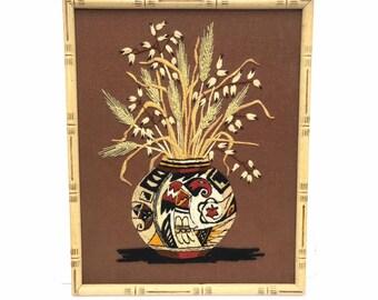 Native Art -- Vintage Needlepoint -- Needlepoint Art -- Native Needlepoint -- Southwestern Art -- Southwest Art -- Wheat Needlepoint