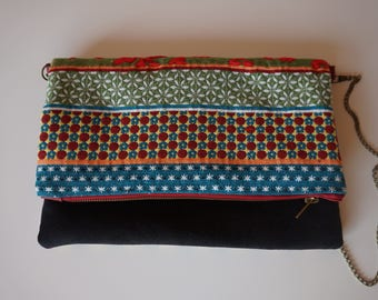 Clutch with detachable shoulder strap and ethnic bag
