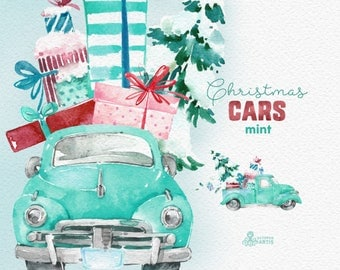 Christmas Cars Mint. Watercolor holiday clipart, vintage, retro truck, gifts, Christmas tree, cards, xmas, merry, holly, greetings, ice mint