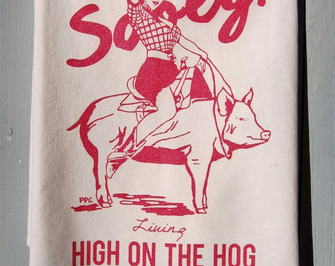 Sooey! Living High on the Hog in Elgin, Texas Tea Towel