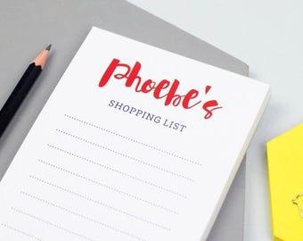 SUMMER SALE Script Shopping List Notepad - Personalized Notepad - Personalized Paper Pad - Custom To Do List - Custom Paper Pad - Back To Sc