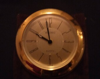Vintage SEIKO Quartz Desk Top Alarm Clock Brass/gold Finish In Cloth Case  # QQQ155G, working condition