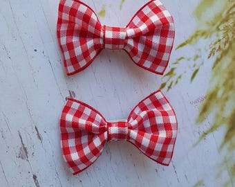 Red & White Gingham Pigtail Bows ~ Toddler Hair Clips ~ Baby Girl ~ Alligator Clips ~ Spring ~