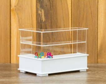 Dollhouse Miniatures Acrylic L-Shaped Left-Handed White Wooden Bakery Shelf Counter Cafe Coffee Shop Furniture Room Decorating