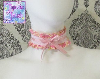 Pink Lemonade Lollita Choker, Girly, Frilly, Lolita, kawaii, sweet lollita