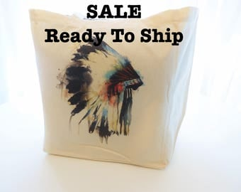 Sale Ready To Ship Watercolor Indian Chief Headdress Cotton Tote Bag, Native American Reusable Market Tote Bag, Large Boho Cotton Tote Bag