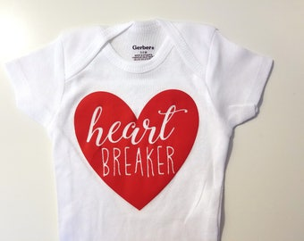 Heart Breaker Baby Onesie, Cute Baby Onesie, Funny Baby Onesie, Holiday Baby Onesie, Valentines Day Baby Onesie, Baby Shower Gift