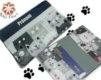 Immunization booklet health cover personnalized  prénom cat flanel