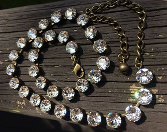 Swarovski crystal necklace in gold setting