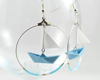 Creole sailboat blue Origami Japanese paper Pearl Miyuki