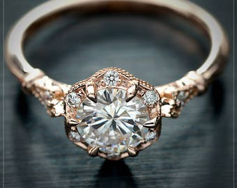 Moissanite Engagement ring with halo  certified Forever One .30ct to 1ct