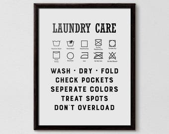 Guide To Laundry Poster Laundry Symbols  Etsy