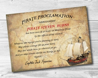 Custom Pirate Proclamation Printable - Pirate Party - Pirate Certificate signed by Captain Jack Sparrow or any pirate of your choice!