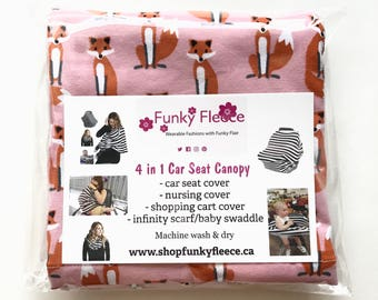 Pink Fox 4 in 1 Multi-Use Stretchy Car Seat Cover