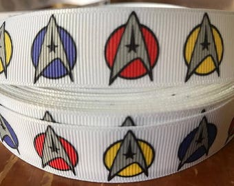 "Lot of 2 Metres of 7/8"" Grossgrain Ribbon - Star Trek #2 - For Craft"