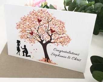 Congratulations Card Engagement, Just Engaged Gift, Engagement Card, Customised Gift, Gift for Engaged, Autumn Fall Engagement, Amber Tree