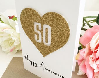 Golden Anniversary, 50th Anniversary Card, Parents Anniversary, Anniversary Gift Ideas, Husband  Card, Card for Wife, Handmade Card, Gold