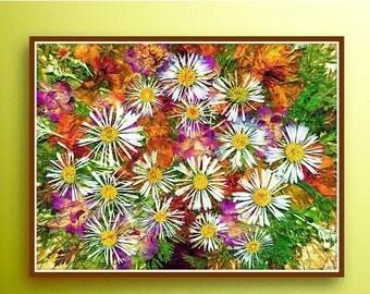 ON SALE High quality print, Dried flowers print, Orange flowers, White flowers, Art print Floral print Dried flowers Pressed flowers Flowers