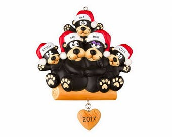 Personalized Huggable Black Bear Family Christmas Ornament - Family of 5