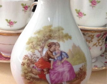 Vintage 50s LIMOGES FRENCH VASE Fragonard Romantic Courting Couples Scenes Shabby French Cottage Mid Century Chic