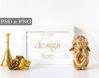 Gold Christmas Bell Styled Stock Photography Angel Roses Desk Horizontal Frame Mockup Download Empty Art Frame Product Digital Background