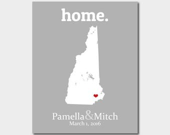 25th Anniversary Gift, New Hampshire Map Art, 46th Birthday Gift, Birthday Decorations For Him Moving In Together Map - Any State Or Country