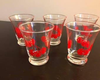 Set of 5 4oz Vintage Juice Glasses 1950's Red Cherry Retro