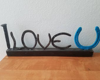 Custom made railroad spike horseshoe love sign 100% repurposed products