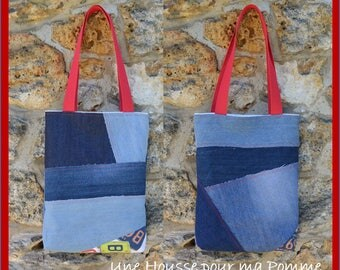 Tote bag purse Jeans denim,quilting linen coton, USA licence plates - recycled