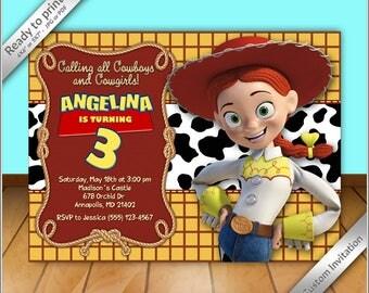 50% OFF SALE - Jessie Cowgirl Birthday Invitation - Jessie toy story Invitation - Printable Jessie cowgirl Birthday Party Invitation