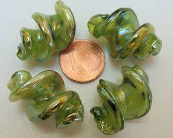 2 Perles Verre Lampwork VIS 28x17mm VERT DIY création bijoux