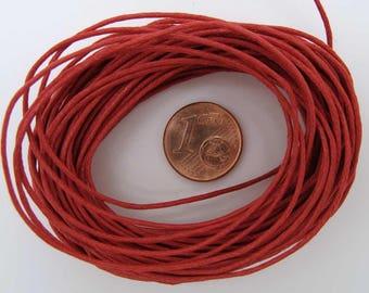 FIL Echeveau 9m environ cordon coton ciré 1mm ROUGE DIY création bijoux