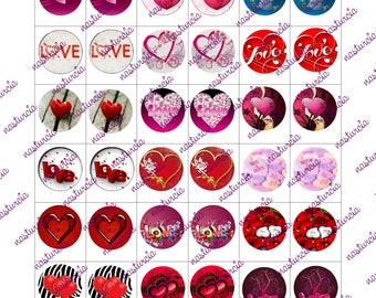 love and hearts bottle cap images cabochon images 1 inch 25 mm printable images instant download