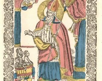 Vintage Postcard, Saint Nicolas Woodcut Stamp Print, Catholic Saint, Patron Saints, St Nick