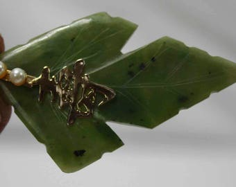 Vintage Estate Carved Natural JADE Jadite Leaf Pendant With Solid 14K Gold Accents & Real Pearls Chinese Writing