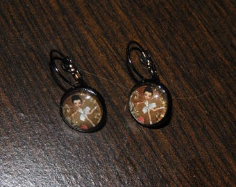 Earrings cabochon little ballerina