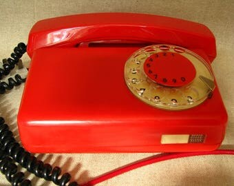 Vintage Polish red dial rotary telephone
