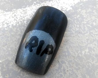 GRAVEKEEPER- Halloween inspired cemetery headstone press on nails- costume nails- stiletto coffin round or square- creepy nails- drag queen