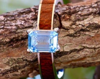 Natural Blue Topaz Koa Wood Engagement Ring Stainless Steel Wedding Ring