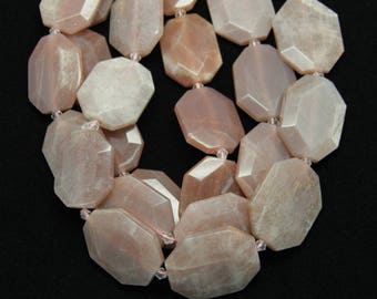 9-10pcs/str,Raw Natural Sunstone Octangle Slab Beads,Faceted Smooth Big Gemstone Beads,for Necklace