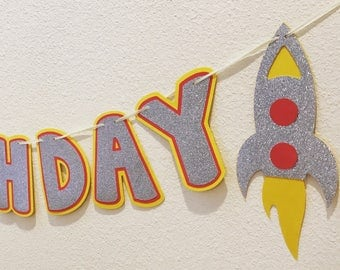 Out of this World Happy Birthday Banner;Space Banner;Rocket Ship Banner;Space Birthday;Rocket Ship Birthday; Space Decor;Astronaut Decor;