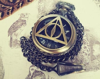 Vintage Inspired Men's Harry Potter Pocket Watch with Deathly Hallows symbol the Elder Wand, Cloak of Invisibility and Resurrection Stone