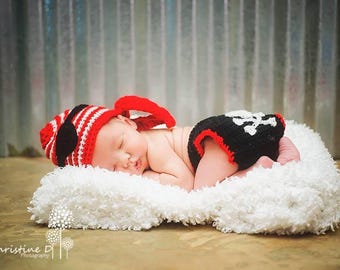 Crochet Baby Pirate Set, Photo Prop