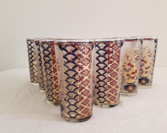 Culver Asian Themed Glasses - set of 7