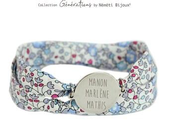 Bracelet child woman Liberty personalized name engraved Stainless steel medal eloise blue Nemeti Bijoux