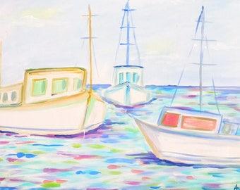 ORIGINAL Fishing Boats 16x20 PAINTING on Canvas, Acrylic, Original Art, Nautical Coatwl Gift, Audrastyle